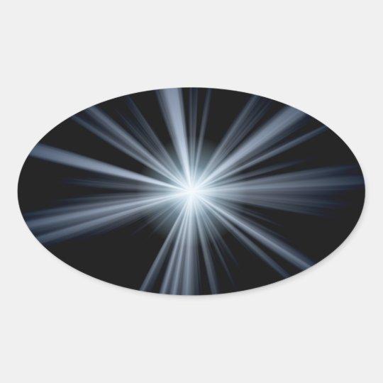 Explosión azul de la llamarada de la lente pegatina ovalada