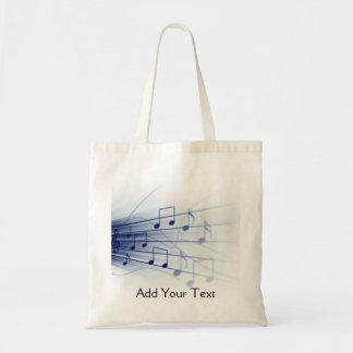 Explosión azul de la música en blanco bolsa tela barata