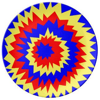 explosión Azul-rojo-amarilla, placa de la Plato De Cerámica