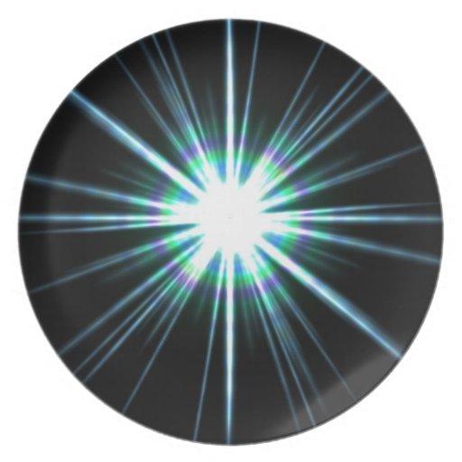 Explosión brillante de la llamarada solar plato