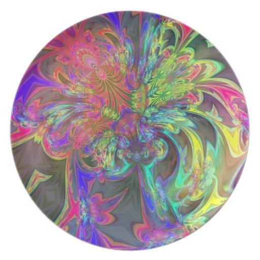 Explosión brillante del color - salmones y añil De Plato De Cena