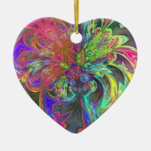Explosión brillante del color - salmones y añil adorno de cerámica en forma de corazón
