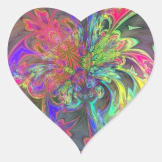Explosión brillante del color - salmones y añil pegatina en forma de corazón