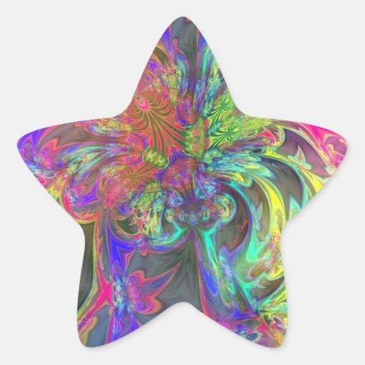 Explosión brillante del color - salmones y añil pegatina en forma de estrella