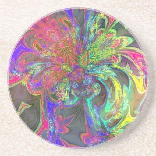 Explosión brillante del color - salmones y añil posavasos diseño