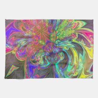 Explosión brillante del color - salmones y añil toalla de mano