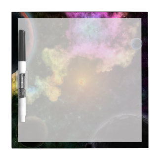Explosión colorida de la galaxia tablero blanco