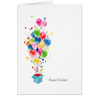 Explosión colorida de los globos de las tarjetas d