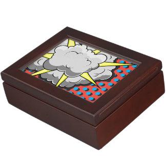 Explosión cómica del estilo del arte pop caja de recuerdos