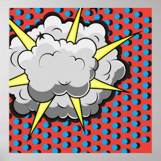 Explosión cómica del estilo del arte pop póster