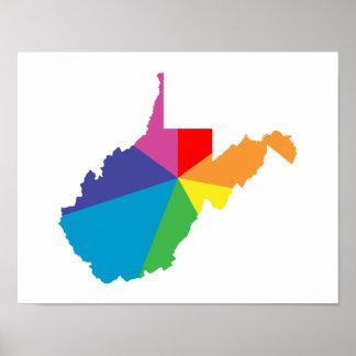 explosión de color de Virginia Occidental Póster