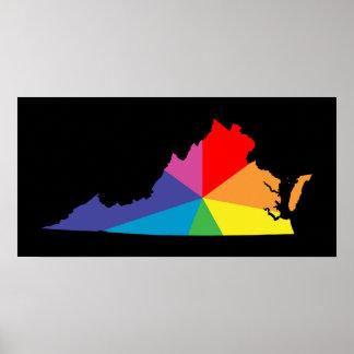 explosión de color de Virginia Póster