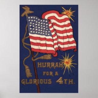 Explosión de los fuegos artificiales de la bandera póster