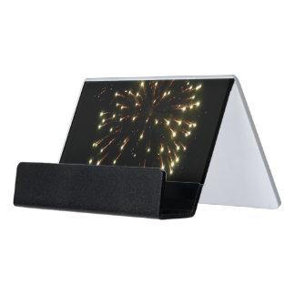 Explosión de los fuegos artificiales del oro caja de tarjetas de visita para escritorio