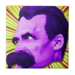 ¡Explosión de Nietzsche! ¡Amarillo y púrpura y Azulejo Cuadrado Pequeño