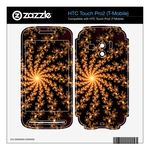 Explosión de oro del fractal que brilla intensamen HTC touch pro2 skin