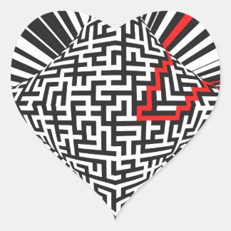 Explosión deformada del laberinto pegatina en forma de corazón