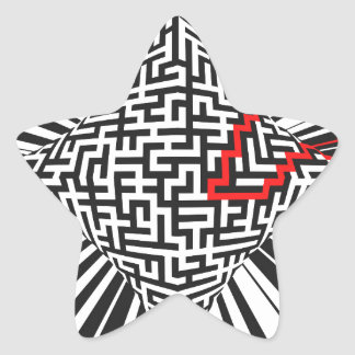 Explosión deformada del laberinto pegatina en forma de estrella
