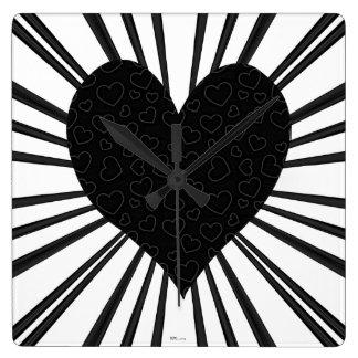 Explosión del amor (negro) reloj cuadrado