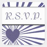 Explosión del amor (púrpura) (boda) calcomania cuadradas personalizada
