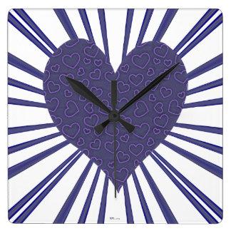 Explosión del amor (púrpura) reloj cuadrado