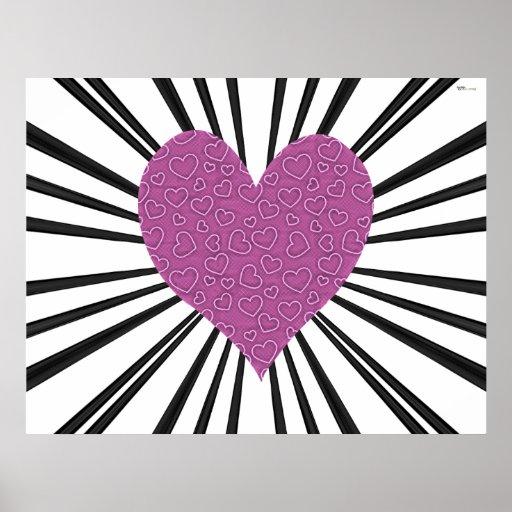 Explosión del amor (rosa en negro) impresiones