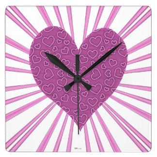 Explosión del amor (rosa) reloj cuadrado