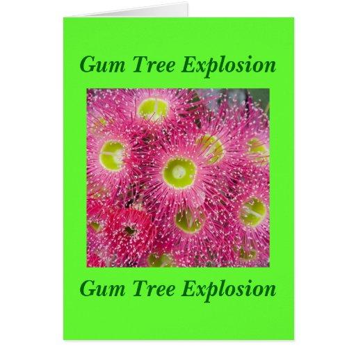 Explosión del árbol de goma tarjeta de felicitación