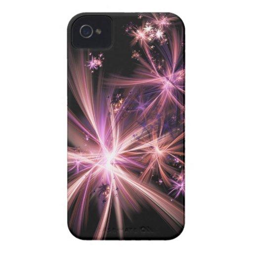Explosión del arte abstracto rosado del fractal iPhone 4 Case-Mate protectores