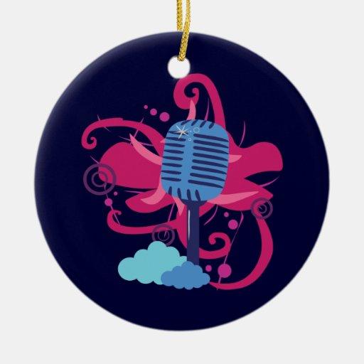Explosión del arte del micrófono adorno navideño redondo de cerámica