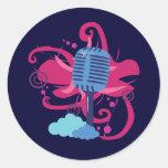 Explosión del arte del micrófono pegatina redonda