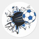 Explosión del balón de fútbol pegatina redonda