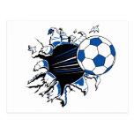 Explosión del balón de fútbol tarjetas postales