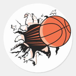 Explosión del baloncesto etiqueta redonda
