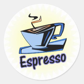 explosión del café express pegatina redonda