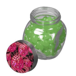 Explosión del caramelo, caramelo color de rosa frascos de cristal