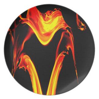 Explosión del diseño del fractal del fuego plato