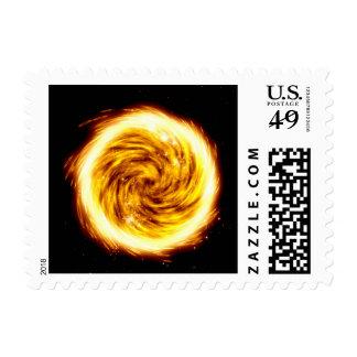 Explosión del fuego sello postal
