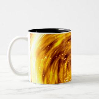 Explosión del fuego taza de café de dos colores