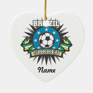 Explosión del fútbol del Brasil Adorno Navideño De Cerámica En Forma De Corazón