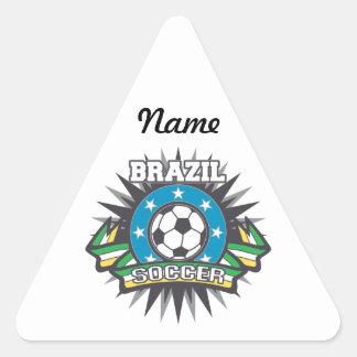 Explosión del fútbol del Brasil Pegatina Triangular
