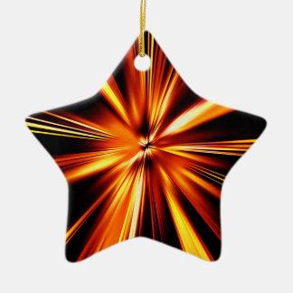 Explosión del naranja adorno navideño de cerámica en forma de estrella