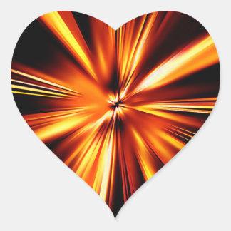 Explosión del naranja pegatina en forma de corazón