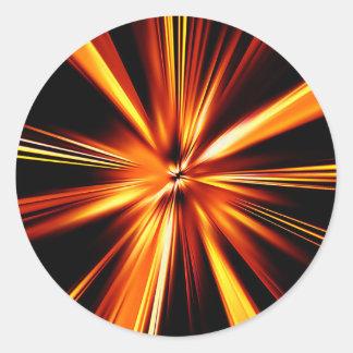 Explosión del naranja pegatina redonda
