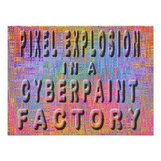 Explosión del pixel en una fábrica del cyberpaint posters