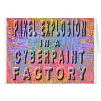 Explosión del pixel en una fábrica del cyberpaint tarjeta