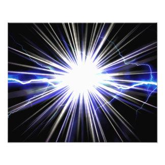 Explosión eléctrica de la estrella del relámpago impresiones fotograficas