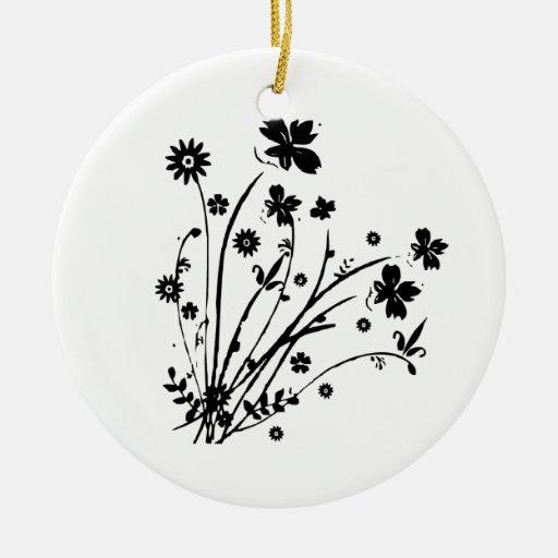 Explosión floral blanco y negro adorno redondo de cerámica