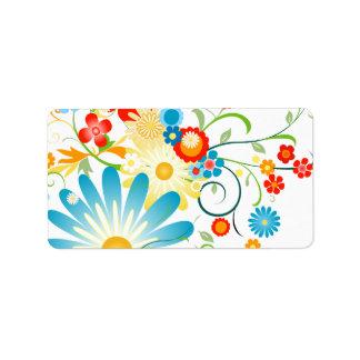 Explosión floral del color etiquetas de dirección
