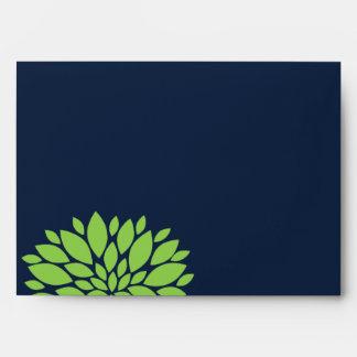 Explosión floral elegante del verde y de los azule sobres